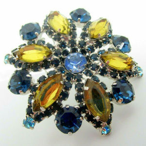 vintage blue yellow rhinestone flower brooch pin